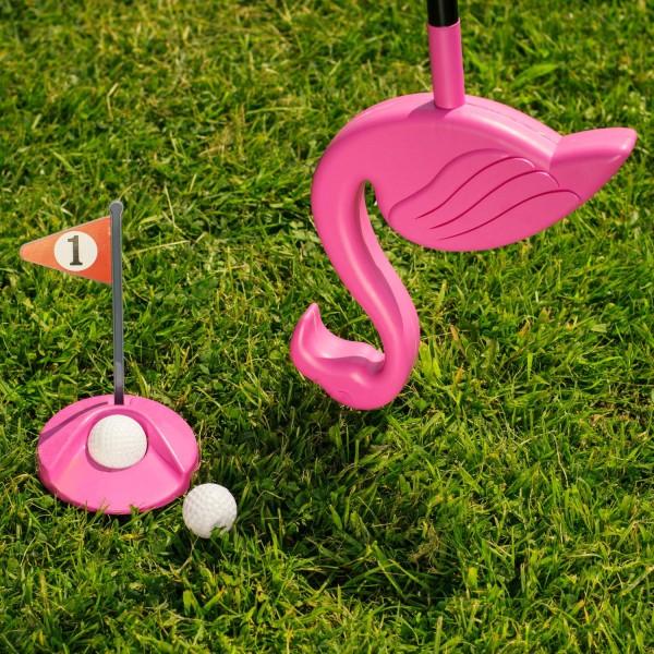 Flamingolf Spaß Golfspiel mit Flamingo-Putter für Rasen / Wiese / Teppich