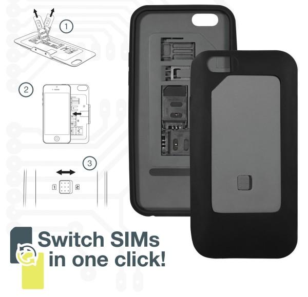 Dual SIM Card 2 Sim Karten case Hülle für iPhone 6