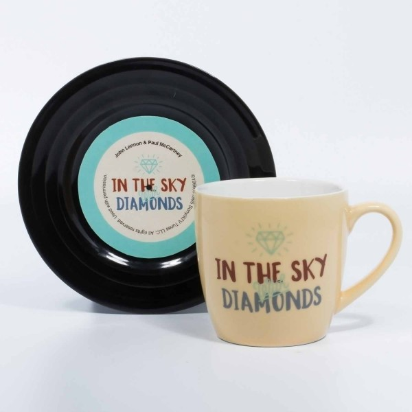 L&M Tasse - Diamonds - Lennon McCartney Vinyl Geschenk Musik Fans Lyrical Mug