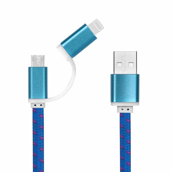 Flaches USB-Ladekabel - 20 cm - Dual-Anschluss Micro-USB und