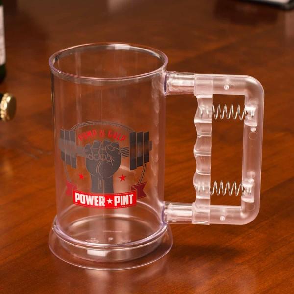 Bierglas Power Pint - Bier Krug mit Griffexpander 795ml