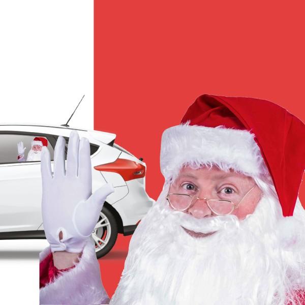 Ride With Nikolaus Auto-Scheibenaufkleber Santa Claus Fenstersticker 44x30cm