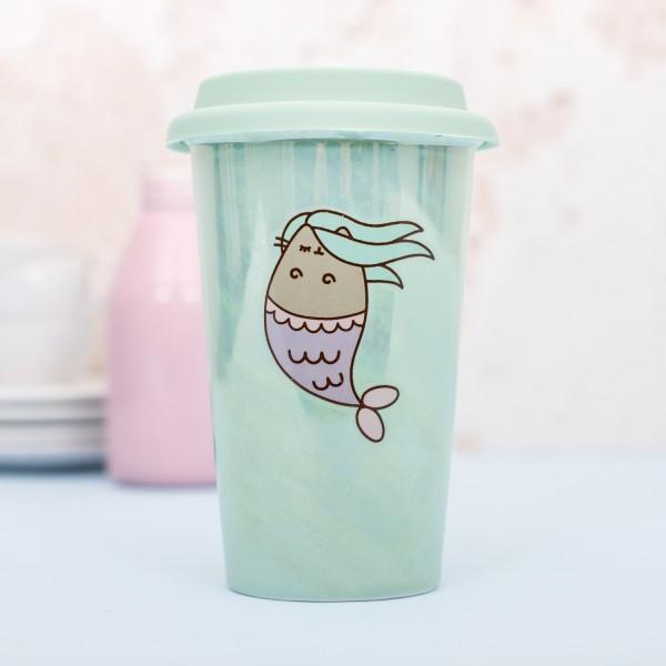 Pusheen - Keramikbecher mit Silikondeckel Meerjungfrau