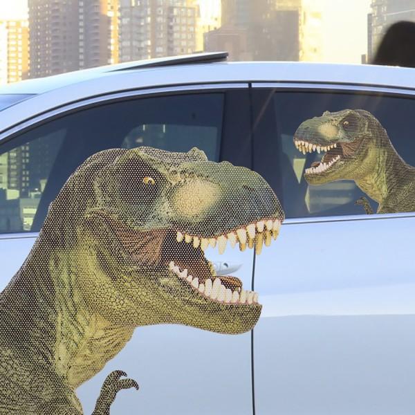 Ride With T-Rex Auto-Scheibenaufkleber Dinosaurier Fenstersticker ca 19x30cm