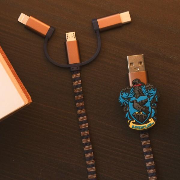 Hogwarts Ravenclaw 3in1-Ladekabel Scarf-Cable (Lightning/Micro/USB-C)