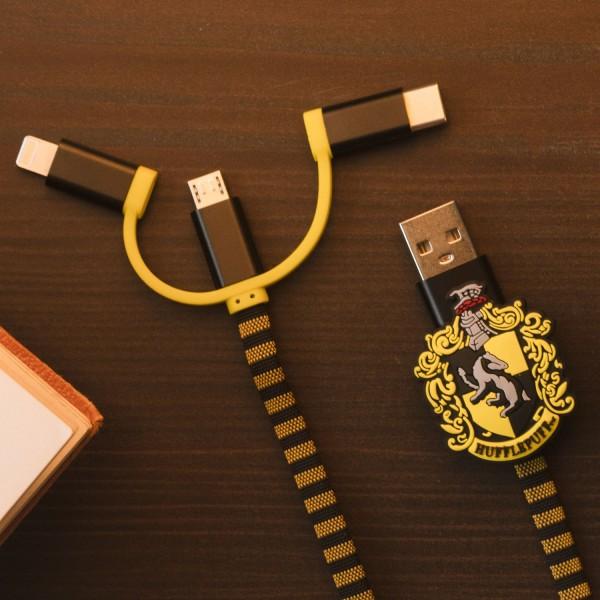 Hogwarts Hufflepuff 3in1-Ladekabel Scarf-Cable (Lightning/Micro/USB-C)